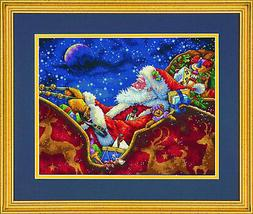 "Gold Collection Santa/'s Midnight Ride Counted Cross Stitch K-14/""X11/"" 18 Count"