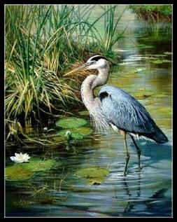 Great Blue Heron - DIY Chart Counted Cross Stitch Patterns N
