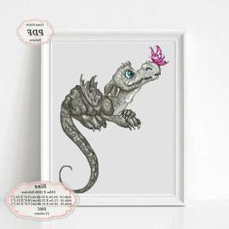 Grey Dragon - Embroidery Cross stitch PDF Pattern - 099