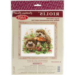 Hedgehogs In Lingonberries Counted Cross Stitch Kit-9.75X9.7