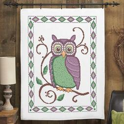 Herrschners Classic Owl Lap Quilt Top Stamped Cross Stitch K