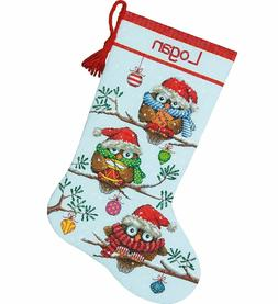 Holiday Hooties Stocking Cross Stitch Kit
