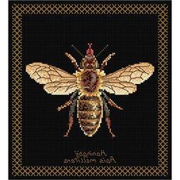 "Honey Bee On Aida Counted Cross Stitch Kit, 8"" x 8.25"", 18 C"