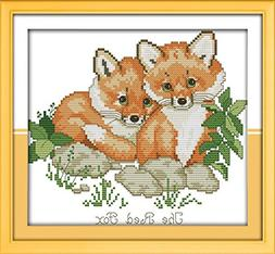 Stamped CaptainCrafts Hots Cross Stitch Kits Patterns Embroidery Kit Red Foxes