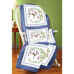 Janlynn Hummingbird Quilt Block Stamped Cross Stitch, 18 by