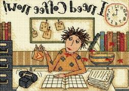 Dimensions I NEED COFFEE NOW Counted Cross Stitch Kit 65065