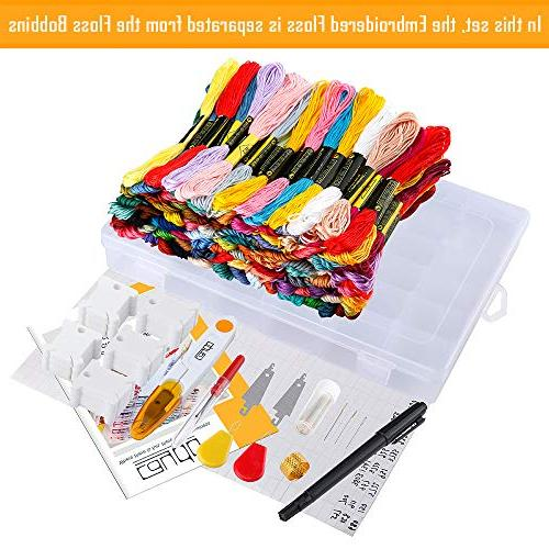 Caydo 100 Thread Needle Organizer, 100 Floss Bobbins, Cross Tool and Pen