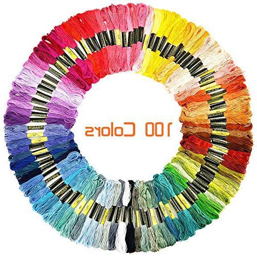 Caydo 100 Skeins Thread Floss Needle Organizer, Pieces Floss Bobbins, Cross Stitch Tool Kit Pen