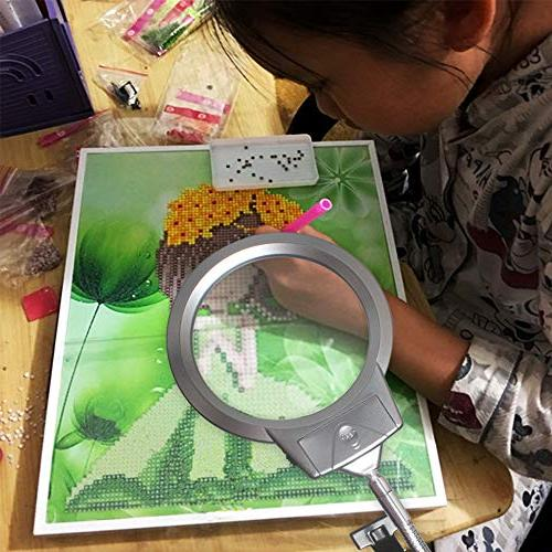 5D Diamond Painting Tools, LED Light with Magnifiers for Painting, & 6X Light with Flexible 5D Painting and Cross Tool