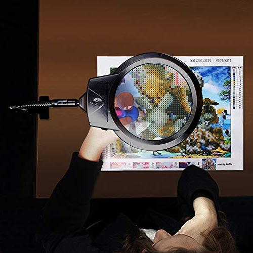 5D Diamond Tools, LED Light & LED Light with Flexible Painting Cross Stitch Tool Magnifier Lamp
