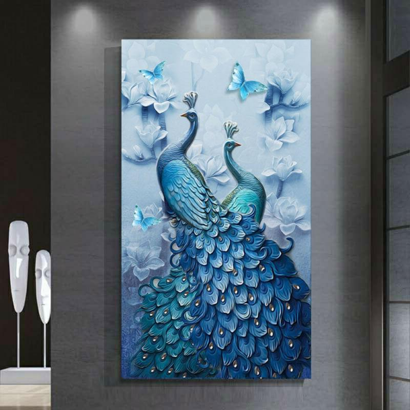 5d drill diy peacock diamond painting cross