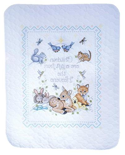 Design Works Decor Stitch Gift from Woodland Animals - Kits: Baby Quilt and Announcement with