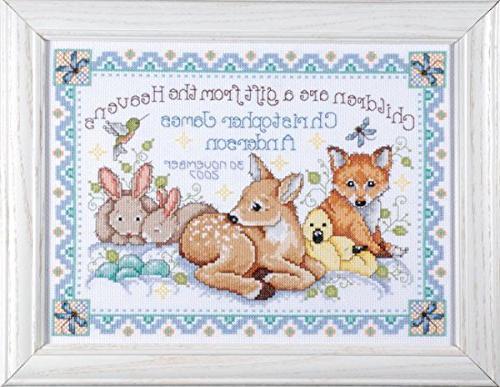 Design - Nursery Decor Cross Stitch - Gift Animals - Baby Quilt Announcement 2 Cards