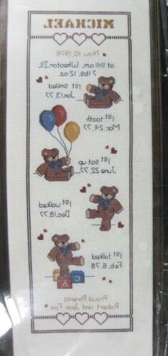 Bear Growth Chart 39-50 Counted Cross Stitch Kit Janlynn 9x2