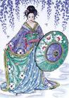 Counted Cross Stitch, Geisha, 12 by 16 inches
