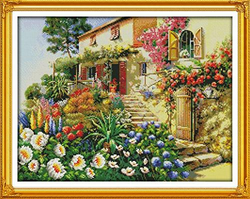 counted cross stitch garden villa