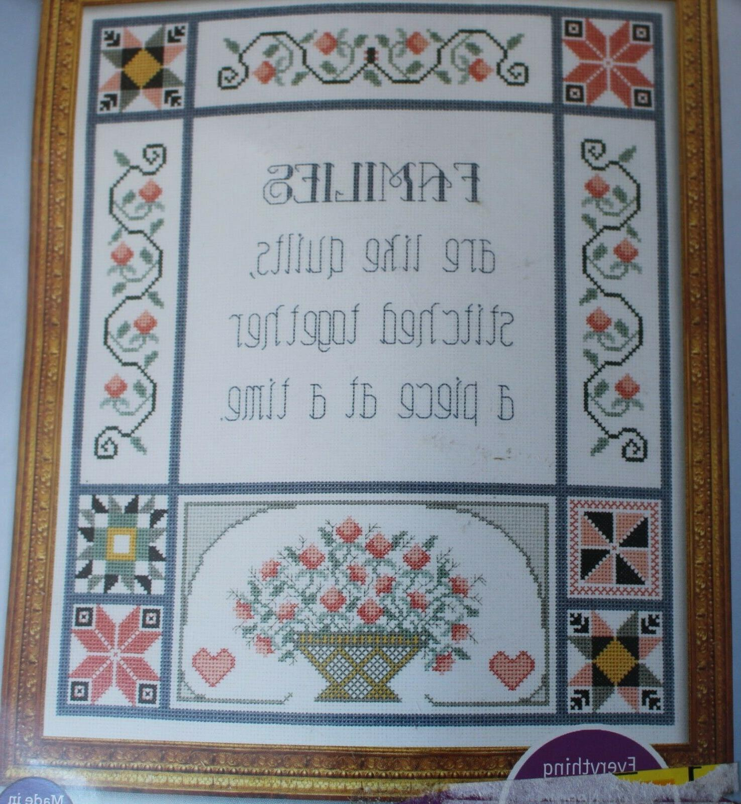 """Counted Stitch Kit """"Families Like Quilts """" 14"""" by"""