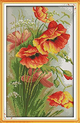counted cross stitch poppy flowers