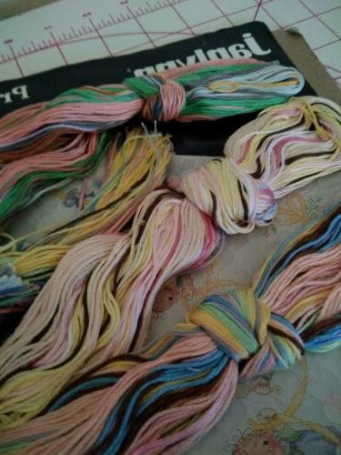 Crib Quilt Stamped Stitch x 43 floss HAPPY Janlynn