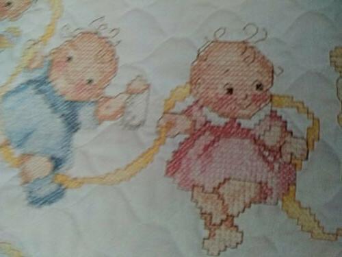 Crib Quilt Cross Stitch 34 x 43 floss inc HAPPY BABIES Janlynn