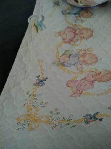 Crib Quilt Stamped Cross floss HAPPY BABIES