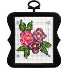 Cross Stitch Kit ~ Plaid/Bucilla Beginner Mini w/Frame Flowe