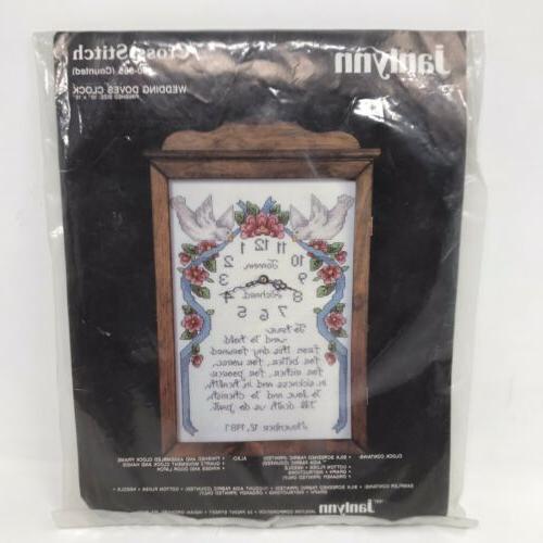 JANLYNN Cross Stitch Kit Wedding Doves Clock 50-865 Pattern