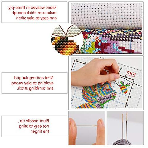 Cross Stitch Stamped Quilt Cross-Stitching Patterns for Beginner Kids Kits, Tiger and Bee