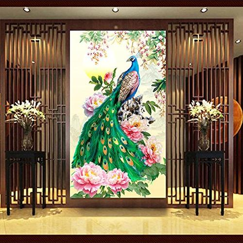 Awakingdemi Embroidery Painting Peacock Home Decoration