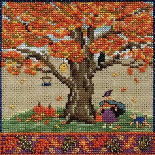 fall oak beaded counted cross
