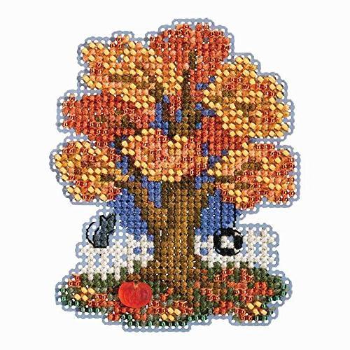 fall tree beaded counted cross