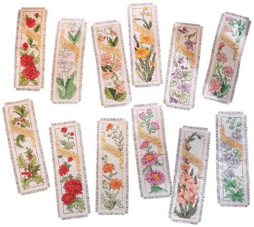 Flowers Of The Month Bookmarks Counted Cross Stitch Kit-2-1/
