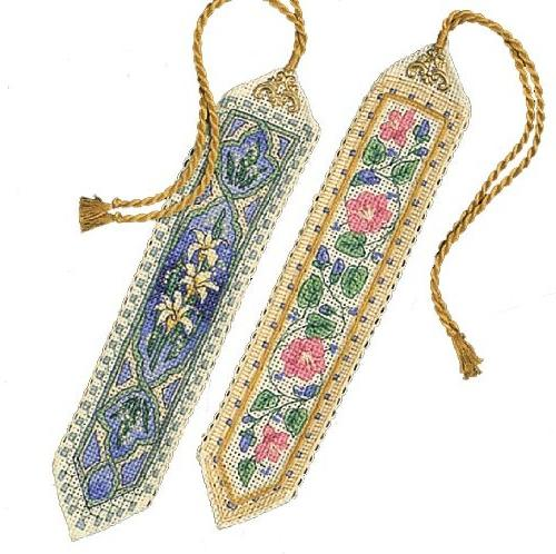 Gold Bookmarks Counted Cross Kit-9 Set Of Two