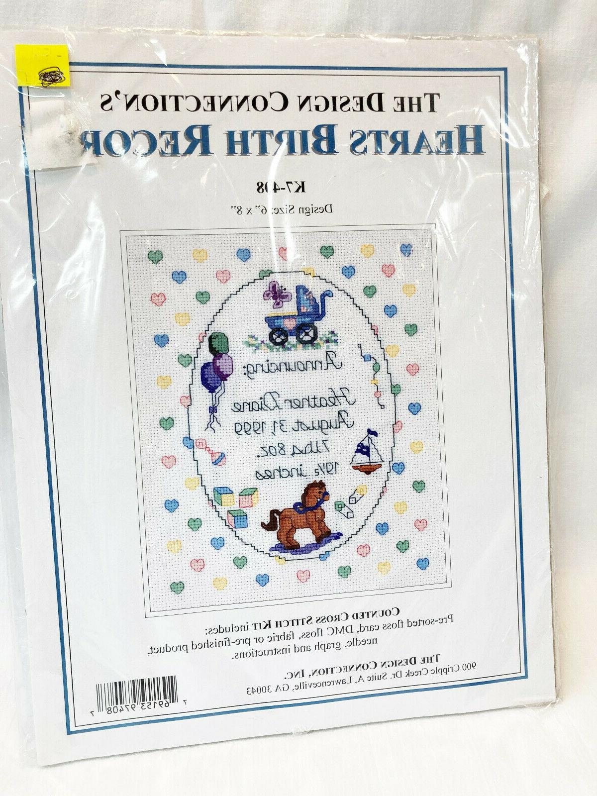 hearts counted cross stitch baby birth record
