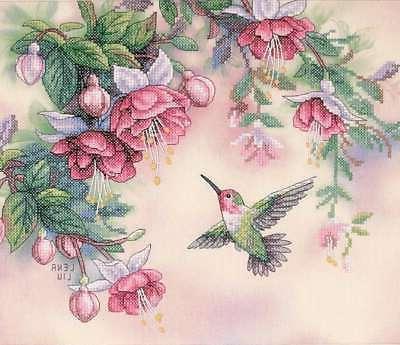 hummingbird fuchsias stamped cross stitch