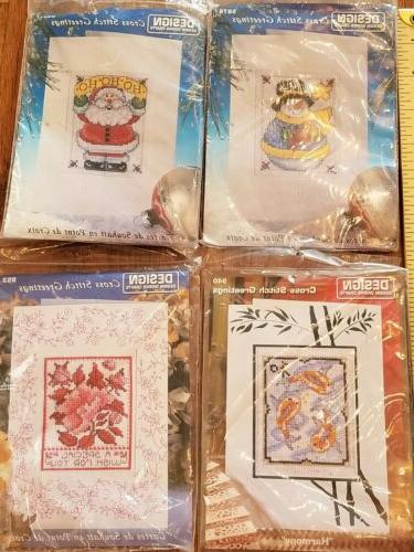 LOT Design Works Cross Stitch Greeting Cards Envelopes bamboo flowers
