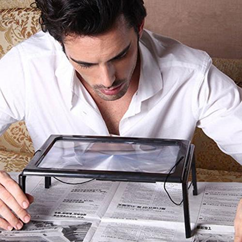 Magnifying Glass 3X Page Magnifier Hands-Free LED Loupe with Old People Reading Low Vision Stitch Inspection Repair Yxaomite