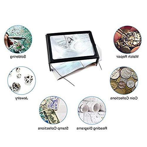 Magnifying Page Magnifier Hands-Free 4 LED Loupe with Old Vision Stitch Inspection Yxaomite