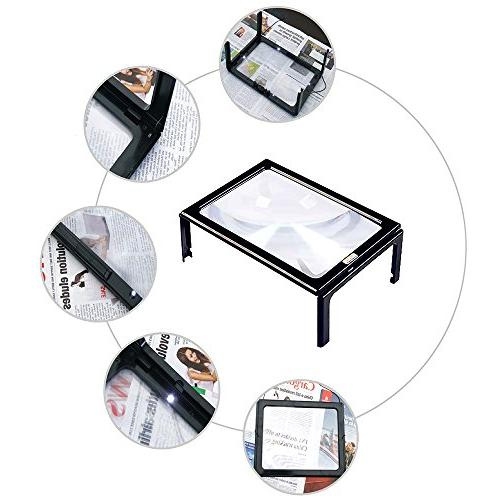 Magnifying 3X Page Magnifier Hands-Free LED Lights Magnification Loupe with Old Vision Stitch Repair Crafts Yxaomite