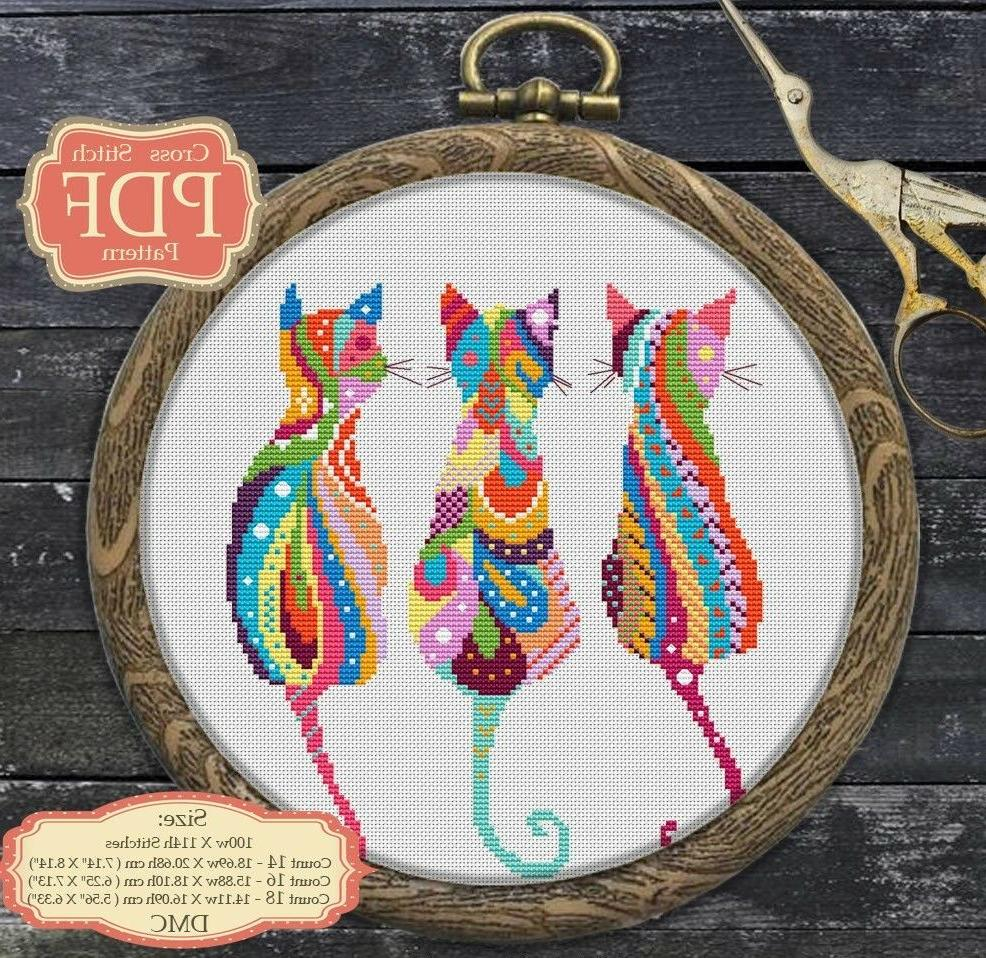mandala three cats cross stitch pdf pattern