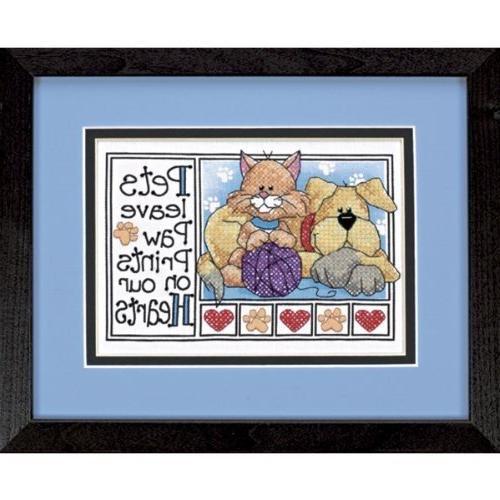 paw prints stamped cross stitch