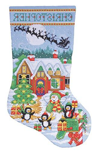 Penguin Party Stocking Counted Cross Stitch Kit-17 Long 14 C