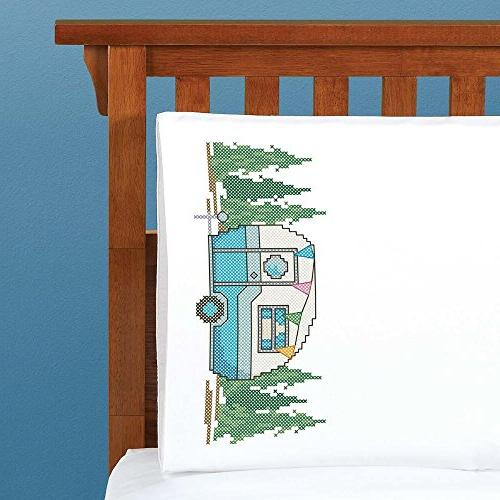 retro camper pillowcase pair stamped
