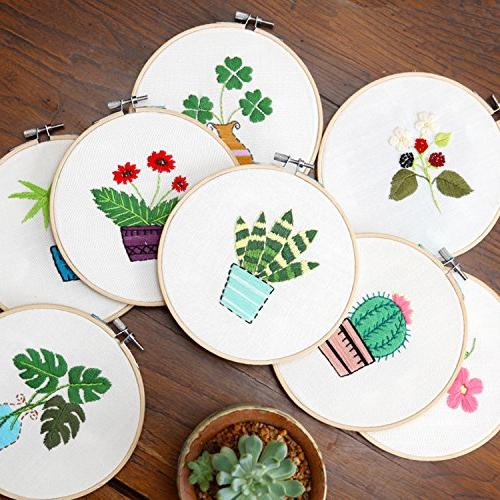 Full Set Embroidery Starter Partten Including Embroidery Cloth,Bamboo Hoop, Tools Kitfor Beginner