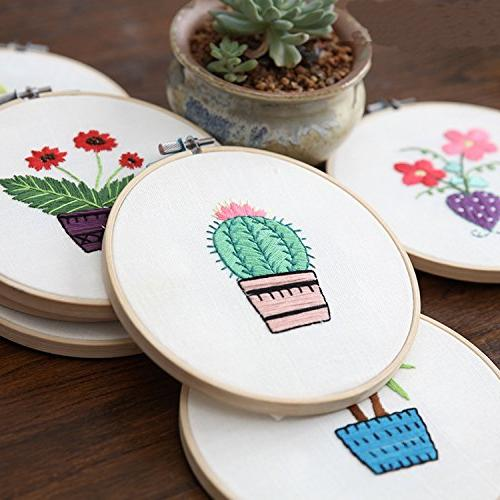 Full Embroidery Starter Kit Partten Including Embroidery Hoop, Color Tools Beginner