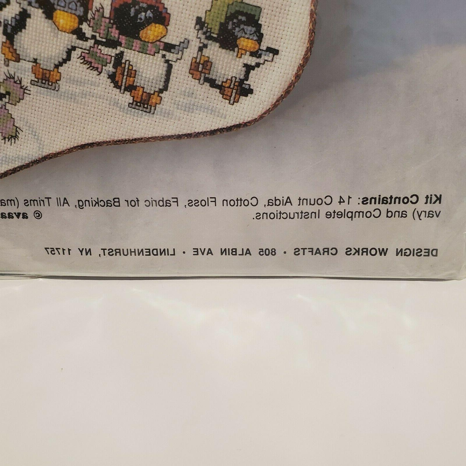 "SKATING PENGUINS * Design Works * cross 17"" Stocking Kit * sealed"
