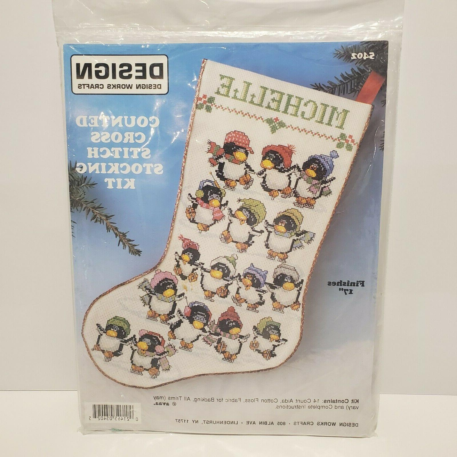 skating penguins counted cross 17 stocking kit