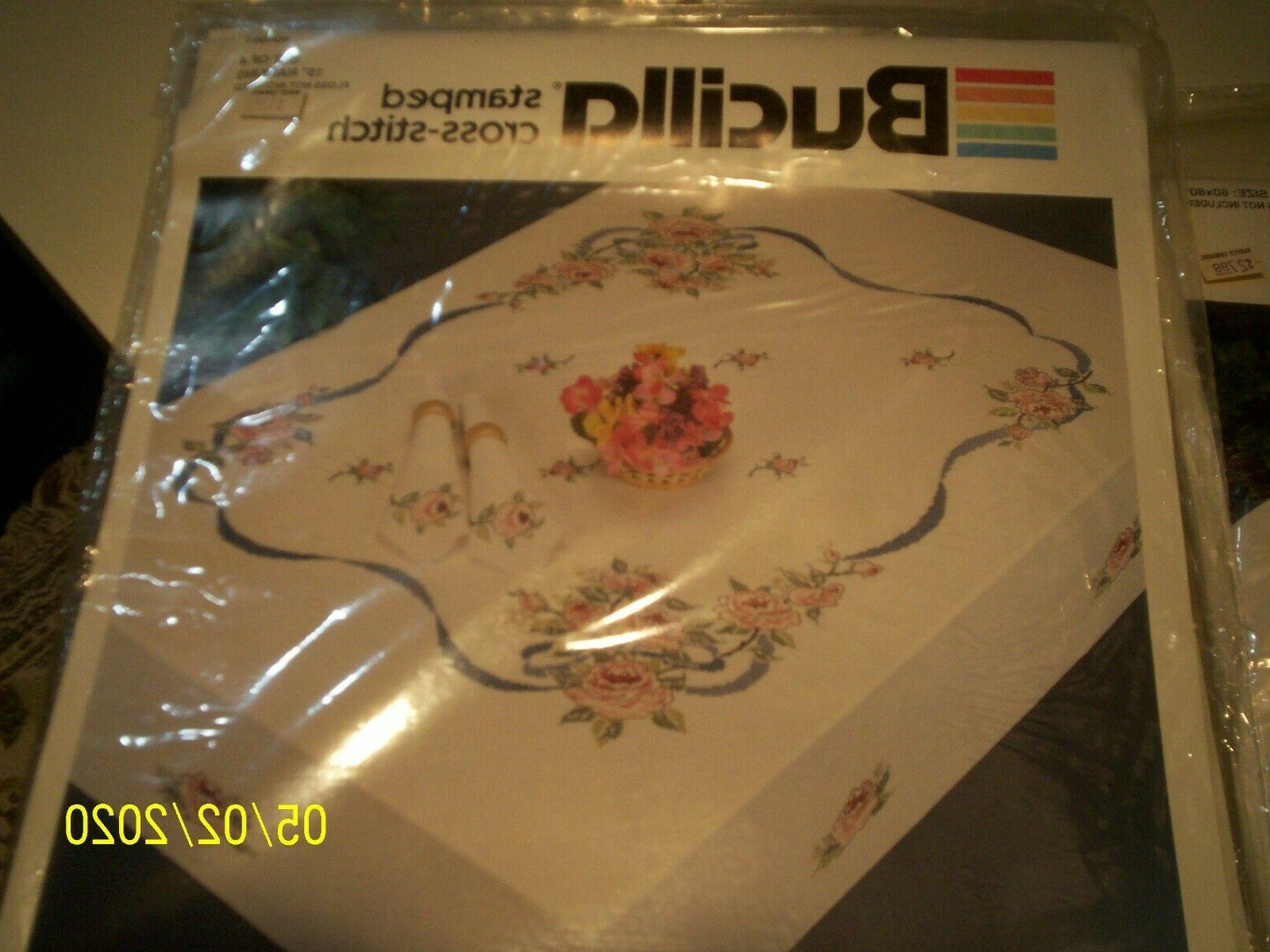 stamped cross stitch 4 napkin kits romantic