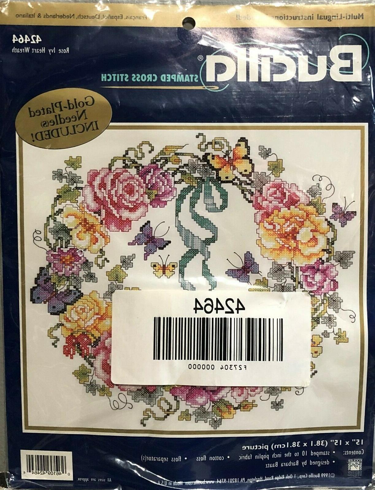 stamped cross stitch kit rose ivy heart