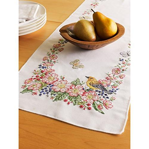 stamped cross stitch table runner